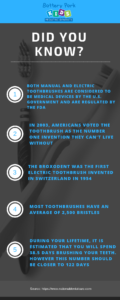 infographic with toothbrush and dental facts