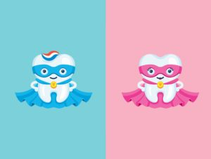 Cartoon of male and female molar superheros