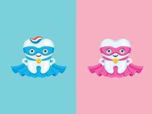 Cartoon of male and female molar superheros